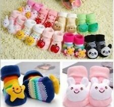 Baby Girl Boy Anti-slip Socks Cartoon Newborn Slipper Shoes Boots 0-6 Months FST