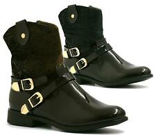 WOMENS BLACK PATENT GOLD BUCKLE STRAP ZIP UP LADIES ANKLE BOOTS SHOES SIZE