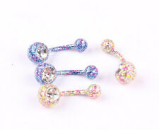 1PC Floral Stylish Body Piercing Jewelry Navel Belly Rings Crystal Mix Color
