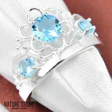 Woman Holiday Gift Titanic Ocean Blue Topaz Gems Silver Crown Ring Us Size 7 8 9