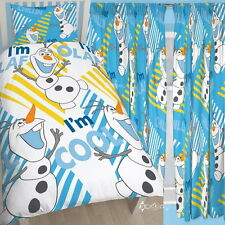 """Frozen Olaf Chillin Single Rotary Duvet and Matching Curtains Set 54"""" 72"""" Drop"""