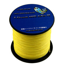 4Plys Dyneema 6-100LB Super Strong Yellow Braid Fishing Line 100-1000M adct AD