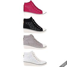 Womens Gem Canvas High Heel Wedge Sneakers Low Top Lace Up Shoes Summer Pumps