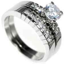 1.24CTW BRILLIANT ROUND CUT - WEDDING ENGAGEMENT RING (2 rings) size 6,7,8,9,10