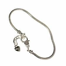 3mm Silver Plated Heart Snake Chain Charm Bracelet Plain Clasp European Bead