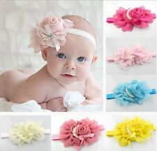 Baby Girl Knot Headband Rose Pearl Ribbon Flower Princess Hairband Accessory