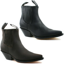 MENS GRINDERS COWBOY LEATHER ANKLE BOOTS SIZE UK 6 - 12 BLACK OR BROWN MUSTANG