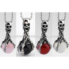 Gothic MENS 316L Stainless Steel Skull Claw Gemstone Ball Pendant Necklace Chain
