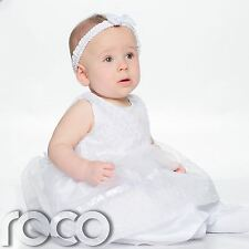 Baby Flower Girls Dress, Baby Girls Christening Dress, Baby Girls White Dress