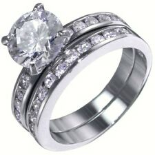 3.60CTW BRILLIANT STONE channel set WEDDING RING SET (2 rings) size 5,6,7,8,9,10
