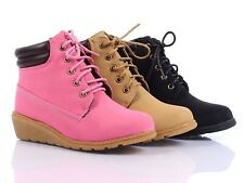 Lace Up Preschool Girls Military Wedges Boots Kids Ankle Bootie Youth Size Shoe