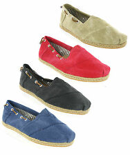 New Womens Canvas Espadrilles Slip On Gusset Plimsolls Trainers Pumps Size 3-8