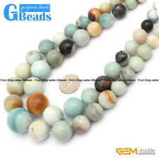 Natural Amazonite Gemstone Faceted Graduated Round Beads For Jewelry Making 15""