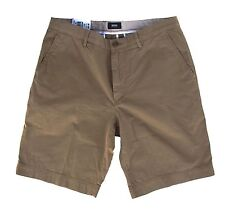 HUGO BOSS Clyde 1-D Solid Khaki Beige Cotton Flat Regular Fit Shorts Pants