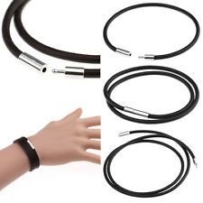 Shiny Stainless Steel Clasp 3mm Round Genuine Leather Cord Necklace / Bracelet