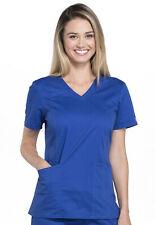 Galaxy Blue Cherokee Workwear Premium Core Women ' s V Neck Scrub Top 4710 GABW