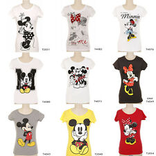 Disney Women's Mickey Minnie Mouse Short Sleeve Round Casual T-Shirt Tee
