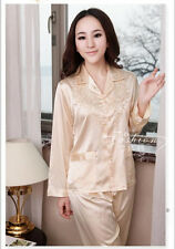 New 2Pcs Ladies Long Sleeved Faux Silk Satin Pyjamas Womens Pajamas
