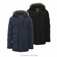 BOYS KIDS FUR HOODED PADDED QUILTED BACK TO SCHOOL PARKA JACKET COAT AGE 7-13