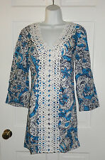 NWT LILLY PULITZER ARIEL BLUE HIPPY HIPPY SHAKE BROOKE TUNIC DRESS M L