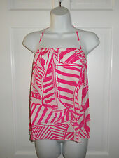 NWT LILLY PULITZER CAPRI PINK YACHT SEA LEI LEI SILK TOP M L