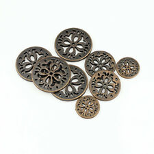 12PCS New Antique Red Bronze Metal Round Four Hole Hollow Buttons 15 20 25mm