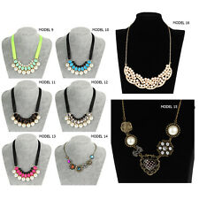 1x Women Jewelry Crystal Chunky Statement Bib Pendant Chain Choker Necklace FTH
