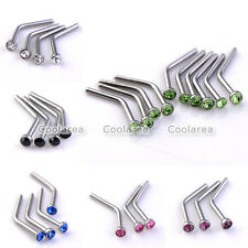 10pc Steel 20G Czech Crystal Curved Nose Bone Stud Rings Bar Barbell Piercing