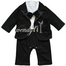 2pcs Newborn Baby Boy Formal Party Suit Gentleman Romper Coat Outfit Clothes Set