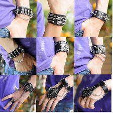 EMO Punk Men Spike Skull Chain Black Leather Bracelet Link Ring Cuff Wristband