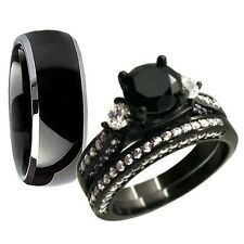 Hers Sterling Silver Three Stone His Black Tungsten Newly Wedding Ring Band Set