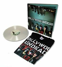 HOLLYWOOD UNDEAD SWAN SONGS VINYL RECORD, T SHIRT AND STICKER SHEETS GIFT SET