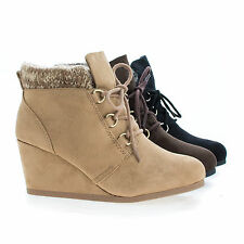 Poppet Brown Round Toe Lace Up Knitted Ankle Collar Wedge Booties