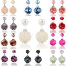 Fashion Women Sweet Pearl Double Side Round Ball Earring Charms Ear Studs Party