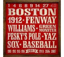 Boston Red Sox Vintage Style 18x18 Baseball Wood Sign 2013 WS Williams Fenway +