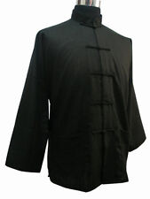 Traditional Chinese Men's Coat Kung Fu Jacket Shirt Cotton Linen Blacks M-3XL