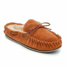 Comfort Plus WASHOE Ladies Suede Leather Faux Fur Lined Moccasin Slippers Camel