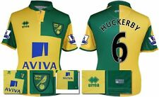 *15 / 16 - ERREA ; NORWICH CITY HOME SHIRT SS + PATCHES / HUCKERBY 6 = SIZE*