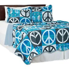 Peace Sign Quilted Blanket Coverlet Bright Colors Full/Queen Size College Dorm
