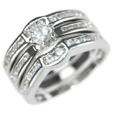 0.72CTW ROUND BRILLIANT STONES WEDDING RING SET (3 RINGS) size #5,6,7,8,9,10