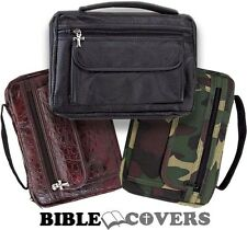 Bible Cover Book Case Tote Leather Bag Burgundy/Black/Camo Camouflage