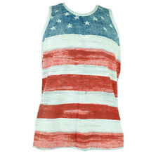 United States American Flag Print Tank top Mens Patriotic Faded Fourth July Tee