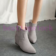 Women Elegant Faux Suede Pointy Toes Pull On Hidden Wedge Heels Ankle Boots Size