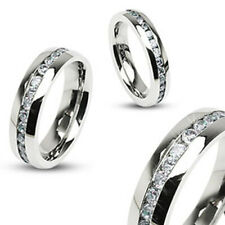 8mm Eternity Wedding Band Ring Band Clear CZ Stainless Steel