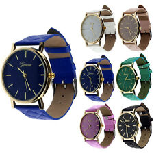 Casual Geneva Watch for Womens Mens Checkers Faux Leather Quartz Wrist Watches