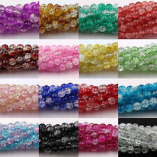 Wholesale 20/50/100Pcs Crystal Glass Round Crack Loose Spacer Bead 6/8/10/12mm