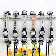 HOT Colorful Rhinestone Cross Pave Clear Disco Bead Hematite Macrame Bracelet