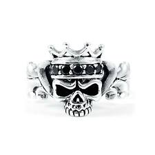 SKULL BLACK CZ CROWN STERLING SILVER 925 RING