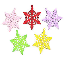 5 LARGE WOODEN SNOWFLAKE STAR PENDANT CHARMS 50mm DIY Christmas Crafts Jewellery