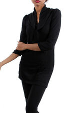 SEXY cowl neck SWEATER figure flattering ¾ sleeves TRENDY CHIC PARTY TOP Black *